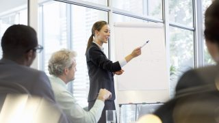 Businesswoman at flipchart leading meeting in conference room